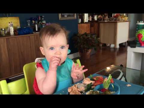 Baby led weaning, baby led feeding - salmon and radishes