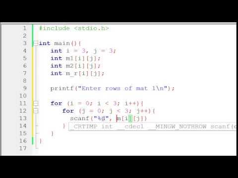 Matrix addition in C/C++ Programming Language - Video Tutorial in Bangla
