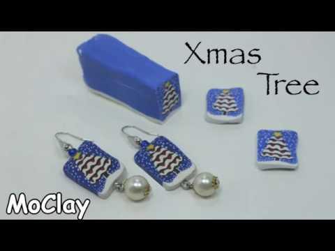 DIY  Christmas Tree earrings - Polymer clay cane