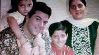 Dharminder  with wife parkash kaur,sunny and Bobby deol !back in the days