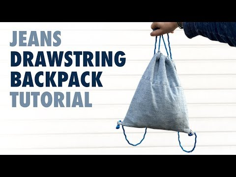 DIY - Jeans Drawstring Backpack Tutorial - How to sew a Drawstring Bag