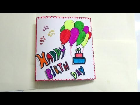 HOW TO MAKE SIMPLE BIRTHDAY CARD FOR KIDS-KIDS ART AND CRAFT LEARNING
