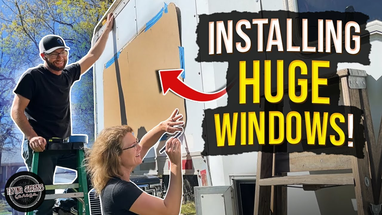 Cargo trailer conversion WINDOW INSTALL! So scary! In the shop with Emily EP 97