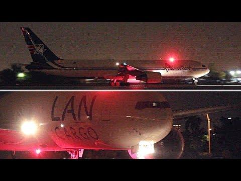 {TrueSound}™ LANCO Boeing 777F + Amerijet 767-300ER Freighter Takeoff from Miami