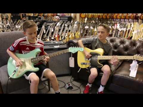 13-Year-Old Twins: Zane and Noah Stanley playing a Fender Stratocaster & Telecaster