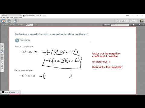 Factoring a quadratic with a negative leading coefficient