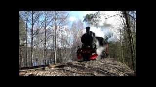 Steam locomotive in action.