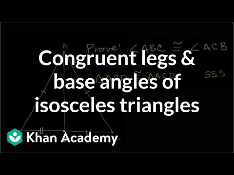 Congruent legs and base angles of isosceles triangles | Congruence | Geometry | Khan Academy