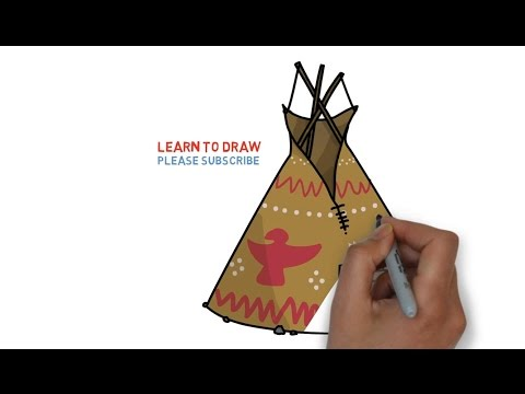 Easy Step For Kids How To Draw a American Indian Wigwam