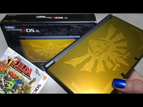Unboxing Hyrule Gold Edition NEW Nintendo 3DS XL + TriForce Heroes Game