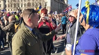 """Tommy Robinson asks anti-Brexit marchers """"easy"""" questions"""