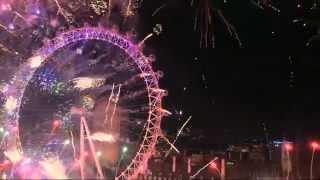 Full New Years Eve 2015 celebrations Fireworks #London UK HD #London2015