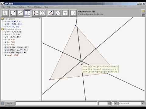 How to construct the circumcenter of a triangle in Geogebra