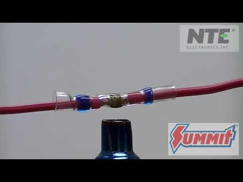 NTE Electronics Heat Shrink Self-Solder Butt Splice Connectors