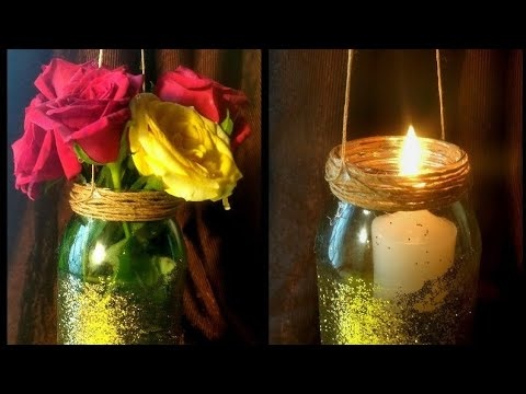 DIY Hanging mason jar vase   Mason jar candle