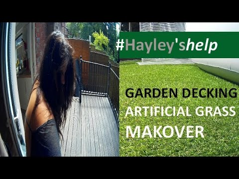 GARDEN DECKING MAKEOVER, BEFORE & AFTER INSTALLING MY ARTIFICIAL GRASS & YOGA