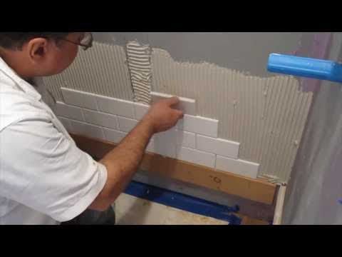 Subway tile shower install time lapse