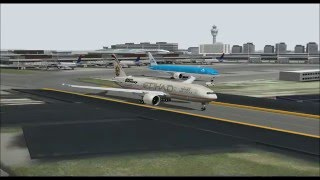 BOEING 777 200LR ETIHAD AIRWYAS FAST & FURIOUS 7 TAKE OFF FROM SCHIPHOL AIRPORT