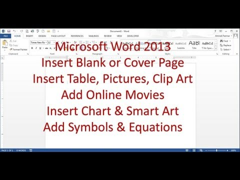 Microsoft Word 2013/2016 pt 5 (Insert Page, table, Picture, Movies,Chart, Clip art)