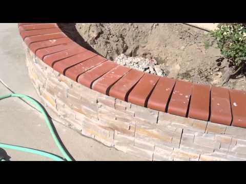 Backyard stone and brick cap work