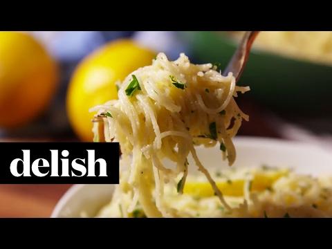 Cheesy Lemon Angel Hair | Delish