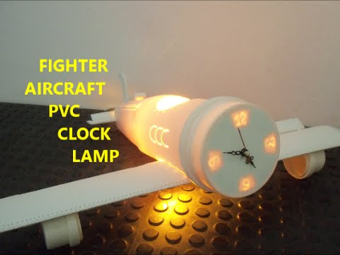 FIGHTER AIRCRAFT PVC CLOCK LAMP