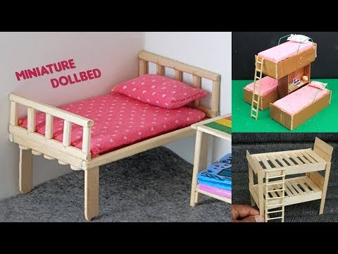 6 Easy Miniature Furniture | DollBed & Popsicle Stick Bunk Bed #2 - DIY & Crafts