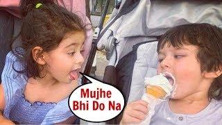 Taimur Ali Khan CUTE Video Eating Ice-Cream With Sister Inaaya Khemu
