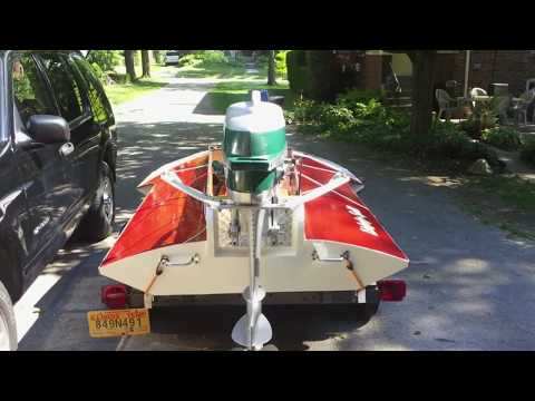 Vintage Hydro Built From Hal Kelly Boat Plans powered by a 1954 Mercury Mark 20