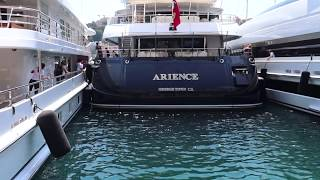 A Tight Squeeze Docking of a Mega Yacht in Port of Hercules, Monaco