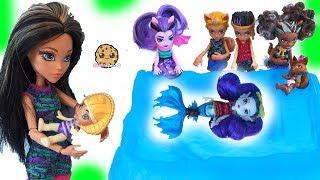 Brother + Sister + Baby Monster High Family Dolls + Slurping Slime Toys