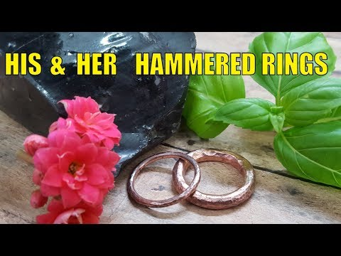 How to make a set of his and her hammered rings.