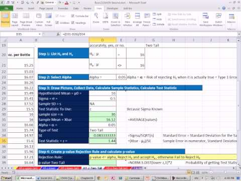 Excel 2010 Statistics 80: Two Tail z Distribution Mean Hypothesis Testing P-value Critical Value
