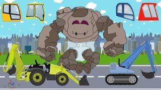 Baby Stone Giant & Excavators   learn construction car and street vehicles   Koparki dla dzieci