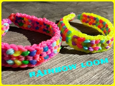 Réaliser un bracelet élastique Double capped dragon scale  -  RAINBOW LOOM  ( en français)