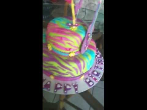 Zebra fondant cake,colorful,rockstar