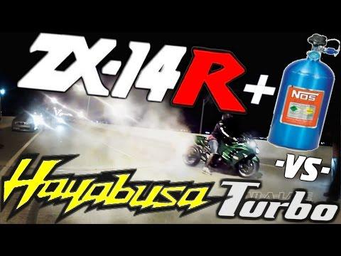 NITROUS Kawasaki ZX14 *SNIPER* vs TURBO HAYABUSA *Rob* - MONEY RACE $$$