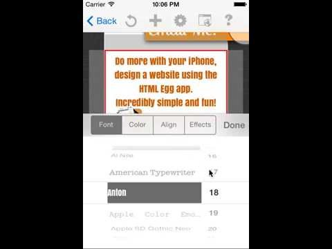How to change web design font size using HTML Egg for iPhone