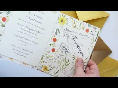 Custom wedding invitation tri-fold cover with pocket, mounted invitation