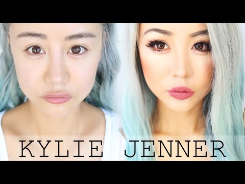 Asian Kylie Jenner Makeup Transformation Tutorial For Hooded & Asian Eyes ♥ Blue Hair Look ♥ Wengie