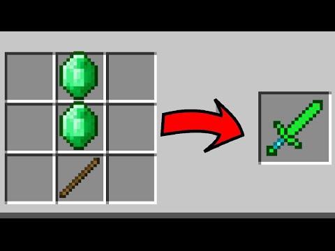How to make a SECRET Emerald Sword in Minecraft PE