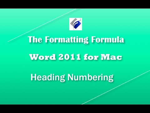 Word 2011for MAC   Heading Numbering