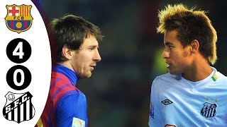 Messi vs Neymar Face To Face For The First Time - Barcalona vs Santos 4-0 FIFA Club WC Final 2011