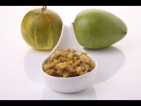 Kacha Pacha Chutney with Raw Mango and Yellow Cucumber - Mrs Vahchef
