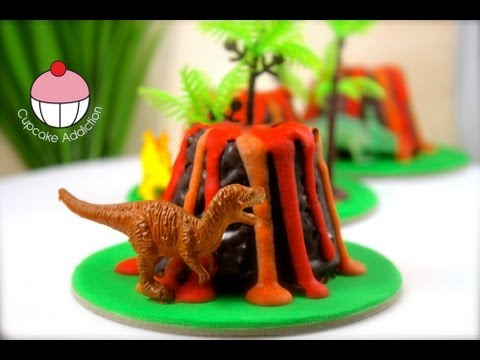 Make Mini Dinosaur Volcano Cup Cakes - A Cupcake Addiction How To Tutorial