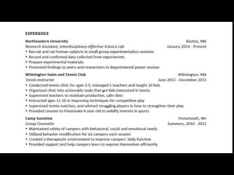 Quick Resume Overview