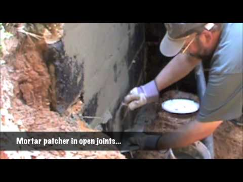 Foundation: masonry cleaning, patching, and water sealing...