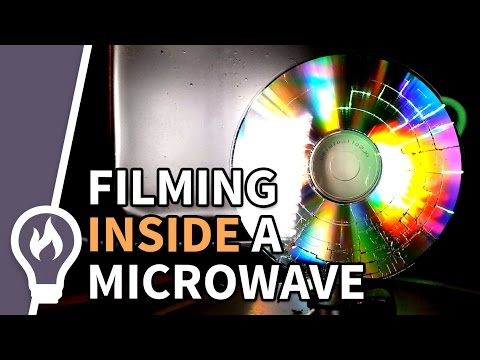 Slow mo CD in a microwave - Filmed from the inside #2
