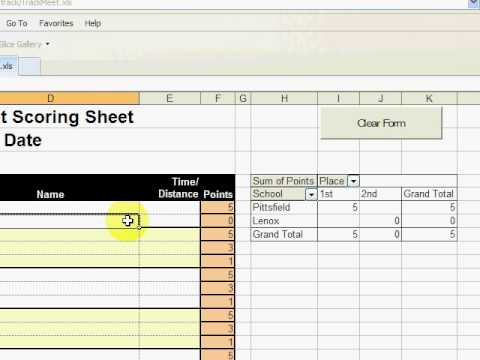 Track Meet Scoring Spreadsheet