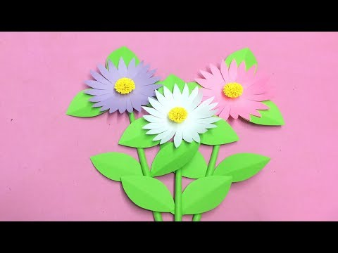How to Make Daisy Flower with Paper | Making Paper Flowers Step by Step | DIY-Paper Crafts